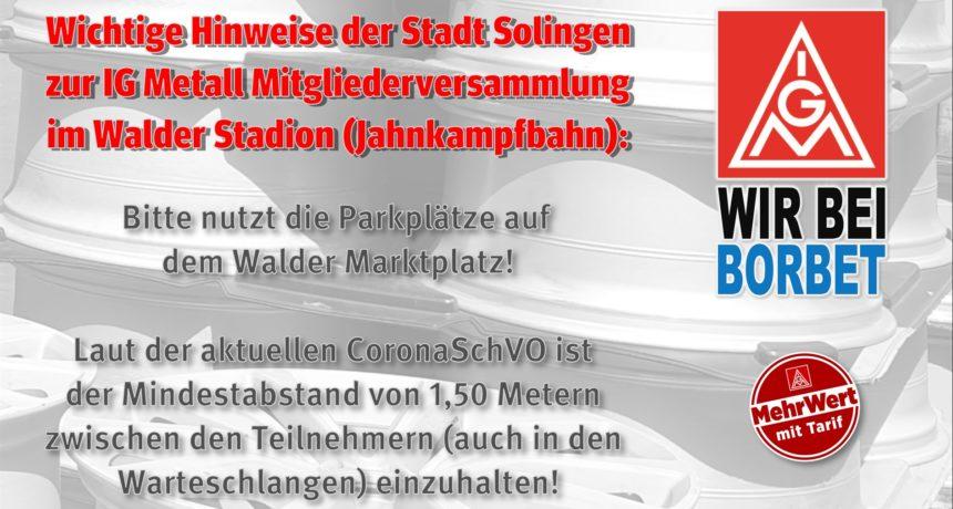 Hinweise zur IG Metall Mitgliederversammlung im Walder Stadion (deutsch/ türkisch)