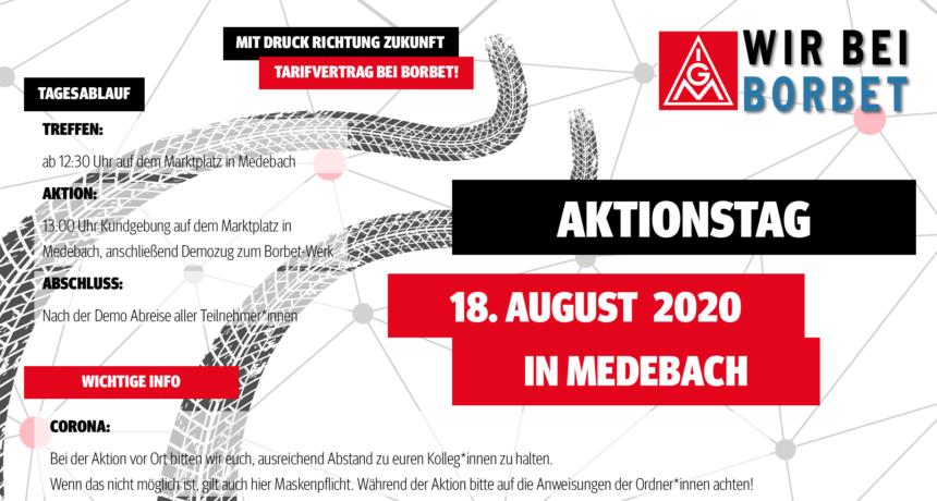Aktionstag am 18. August in Medebach: Mit Druck Richtung Zukunft - Tarifvertrag bei Borbet!